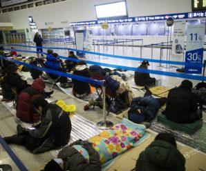 韩国春运:有人为买票通宵打地铺