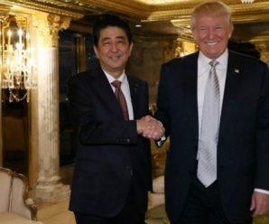特朗普与安倍会谈:致力于用全部军事实力保卫日本