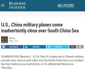 中美军机南海上空仅隔305米 美官员称非故意接近