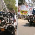 印度男子骑摩托车违停拒付罚款 人车一并被拖走