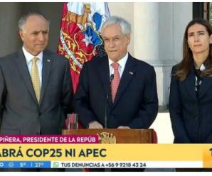 智利总统宣布取消11月和12月举办的APEC领导人非正式会议和气候大会