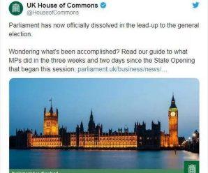 英国议会正式宣布解散 揭开圣诞月提前大选序幕