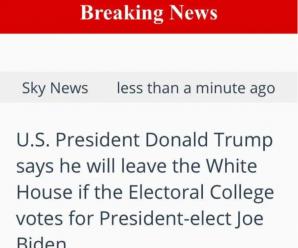 外媒:特朗普称如果选举人团投票给拜登 他将离开白宫