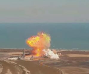 美国SpaceX星际飞船原型机试验时爆炸:落回发射台,烧成火球