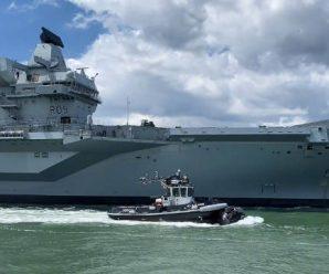 北约海军演习期间,英国最新航母与俄军老舰发生冲突?